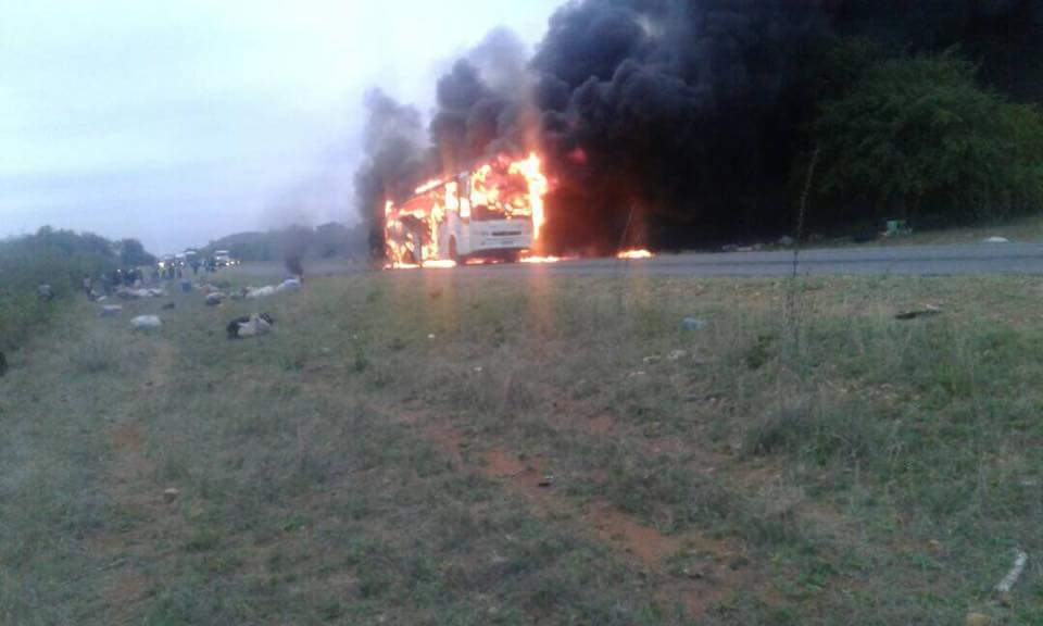 HARARE BOUND BUS BURSTS INTO FLAMES