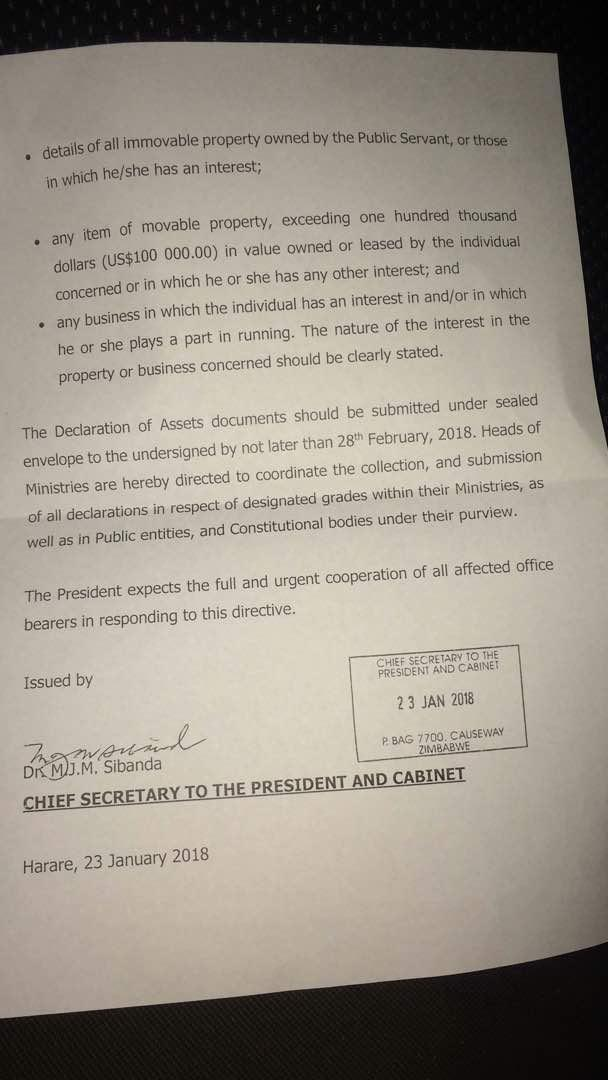President Mnangagwa orders all SENIOR PUBLIC SERVICE OFFICERS to declare their assets