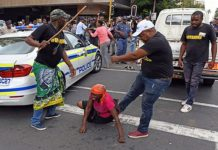 The chaotic protests outside ANC headquarters Luthuli House.