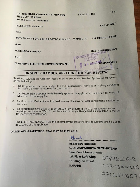 Low Blow For MDC-T Chamisa As Court Orders Primary Rerun Over 'Imposition Of Candidate'