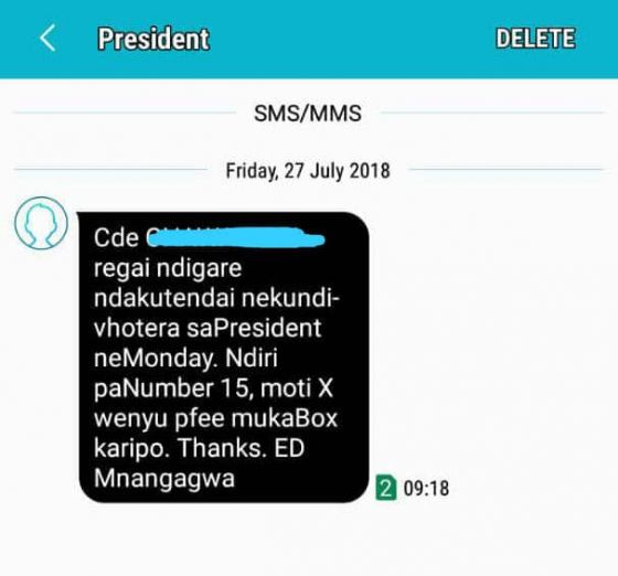 Zanu-PF Sends New SMSs Thanking Recipients For Voting For Mnangagwa