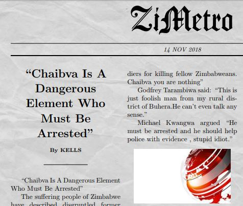"""Chaibva Is A Dangerous Element Who Must Be Arrested"""