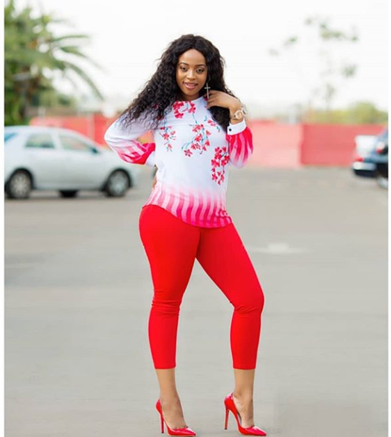 Jackie Ngarande Looks HOT !!! In Red