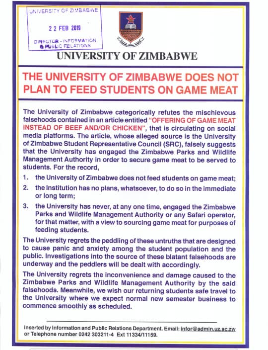 University Of Zimbabwe breaks silence On Plans To Give Students Game Meat