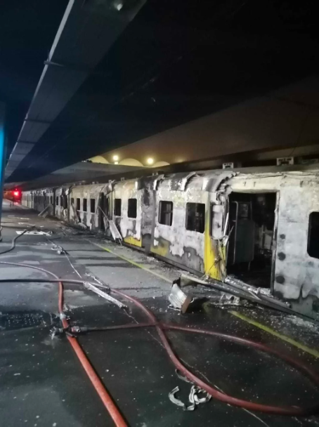 Trains set alight at Cape Town Station, services suspended
