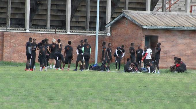File picture of Highlanders players staging a sit-in and refusing to train at Barbourfields Stadium in February 2019