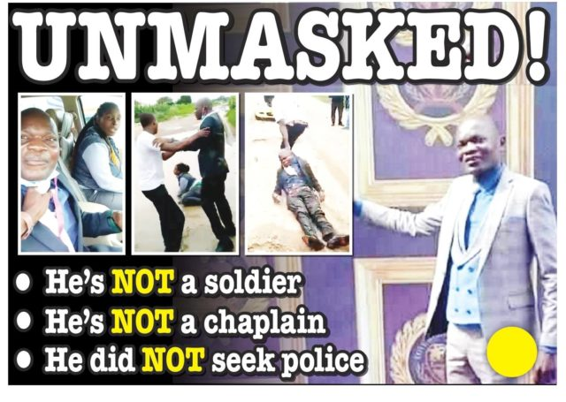 Embarrassed Man Unmasked - He is not a soldier!