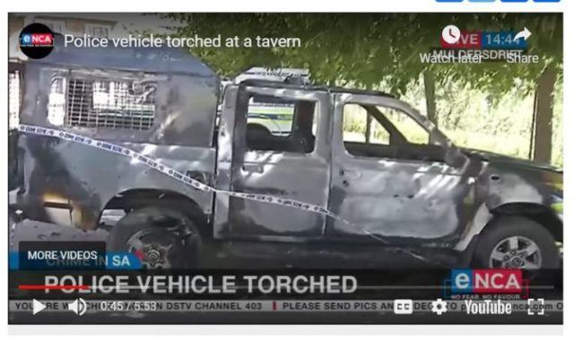 South Africa Police Van Burnt After Seizure Of Alcohol Attempt