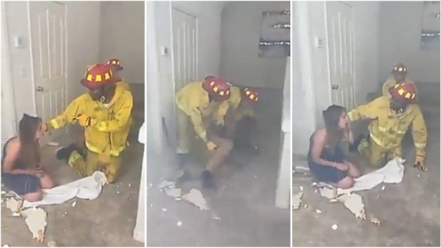 Firefighter Rescues Couple From Hotel Room, Realizes It's His Wife - Video