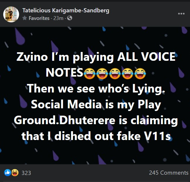 Mambo Dhuterere rejects voice notes leaked by Tatelicious, says they are fake