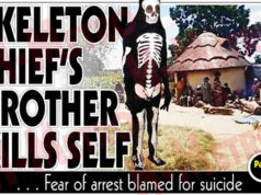 Younger brother to a suspected Gutu thief, who was arrested for stealing while clad in a skeleton-like costume and mask committed suicide on Monday.